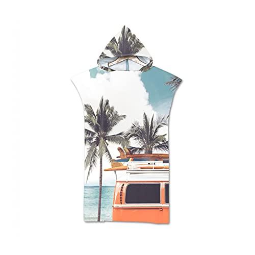 YUNDONGZHIJIA Toalla de baño con Capucha de Verano, Toalla de Playa, Bata de reemplazo, Poncho, Toalla de Surf para Nadar, Playa, Albornoz al Aire Libre