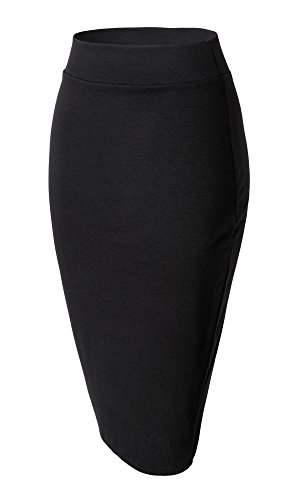 Damen Midi Rock Stretch Figurbetont Business Bleistift Röcke (XL, schwarz)