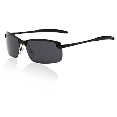 QHGstore Para hombre de gafas de sol polarizadas al aire libre Deportes de Manejo de Eyewear de la lente negro