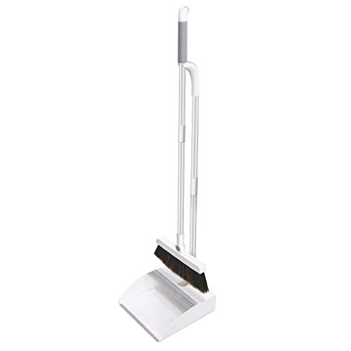 Improved Lengthen Dustpan and Broom Set Standing Upright, Broom and Dustpan Set with Comb and Rubber, Easy Setup Household Cleaning Supplies for Kitchen Garage Office Outdoor Indoor by FUGUIFortune