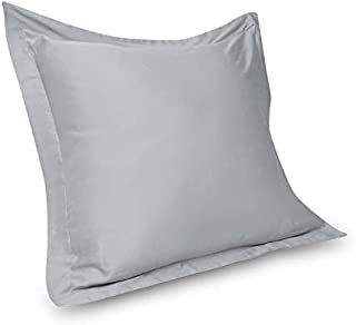 Myra Home Collection 2 Piece Euro Shams 400 Thread Count 100% Egyptian Cotton Solid Pattern 26 x 26 Inch (66cm x 66cm) Pillow Cases Silver Grey