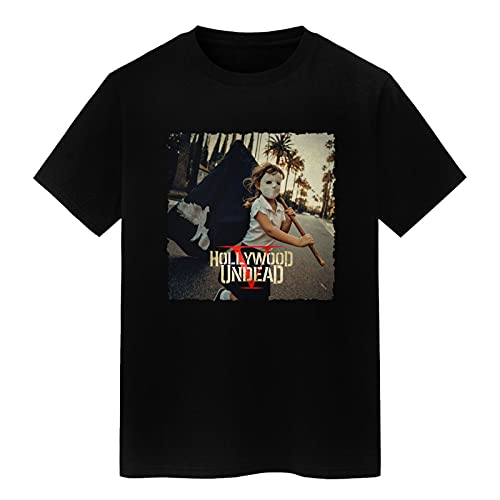 summerator Men's Graphic Tees - Hollywood Undead Five T Shirts for Men Black XX-Large