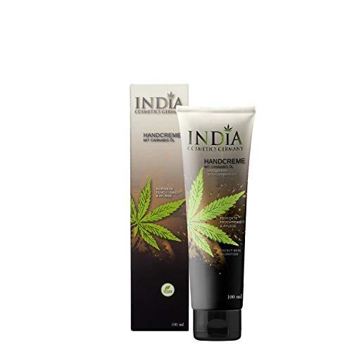 INDIA C.G. regenerierende Handcreme mit Cannabis-Öl bei trockener Haut nach Desinfektion. Perfekter Hautschutz bei vielen Händewaschen. Hilft gegen austrocknen der Hände und beugt Hautrissen vor.