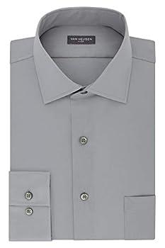 Van Heusen mens Regular Fit Flex Collar Stretch Solid Dress Shirt Grey Mist 16.5 Neck 34 -35 Sleeve Large US