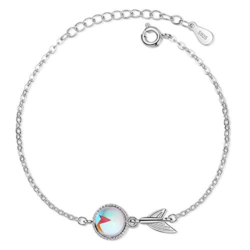 YSJJPQC Bracelets 100% 925 Sterling Silverfish Tail Opal Stone Ladies Bracelet Original Women Short Choker Charms Chains No Fade (Length : 19.5cm)