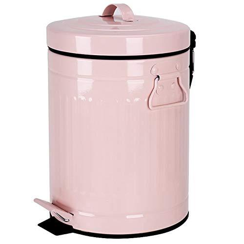 Wdonddonljt Baño Bote de Basura con Tapa, Bote de Basura for el Dormitorio de Oficina Adecuado for baño, Dormitorio, Oficina, Escritorio, 5 litros (Color : Pink)