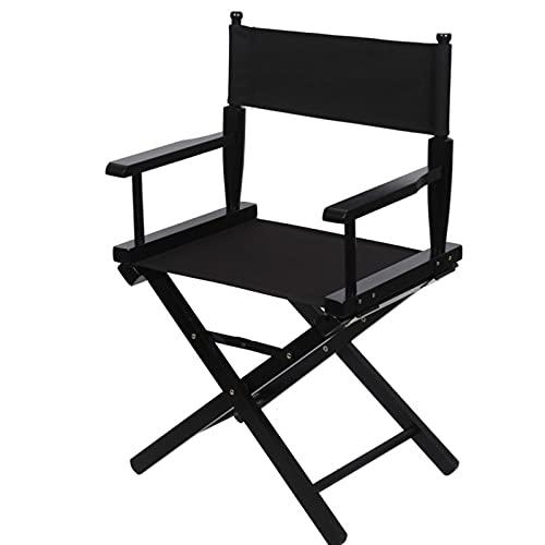 YSXFS Regiestuhl, Director Chair, Folding Künstler Make-upstuhl Solide Hartholz Professionelle Teleskop Director Stuhl Oxford Stoffsitz Einfach Zu Tragen & Reisen(Color:Black)