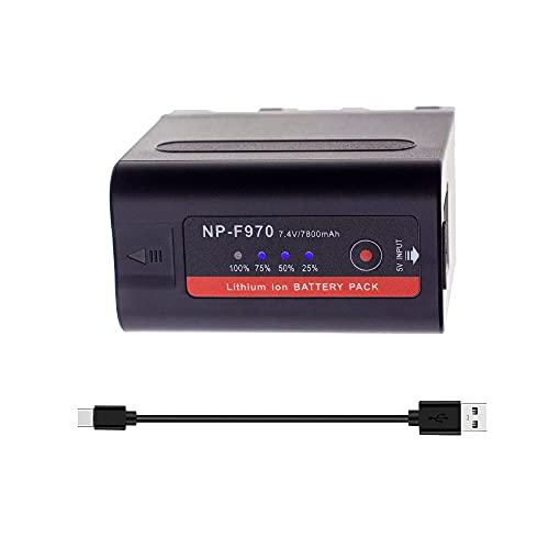 SLODA NP-F970 NP-F980 Batteria di Ricambio per Video Digitale Compatibile con Sony DCR-VX2100, DSR-PD150, DSR-PD170, FDR-AX1, HDR-FX1, HDR-FX7, HDR-AX2000 (1 Pack 7800mAh)