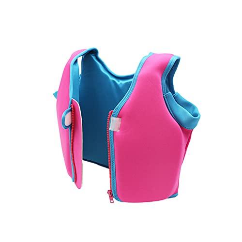 Chaleco de NatacióN de Flotador Swim Vest para NiñOs Transpirable 5 a 13 AñOs AlgodóN de Flotabilidad con Cremallera y Velcro para Remar,Pink,XL