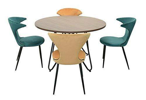 BJYX Essgruppe 5-TLG grün/ockerfarben Esstisch Stühle Sitzgruppe Tischgruppe
