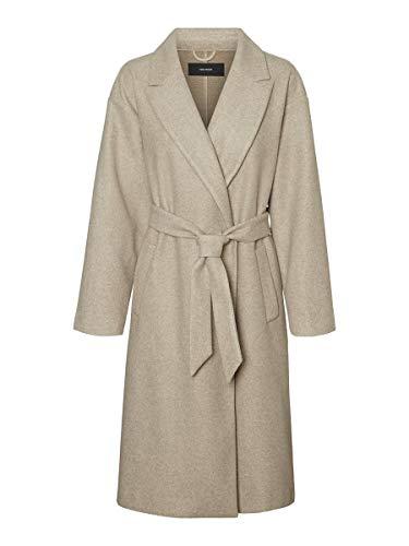 Vero Moda VMFORTUNE Long Jacket PI Cappotto, Visone Argenteo, XL Donna