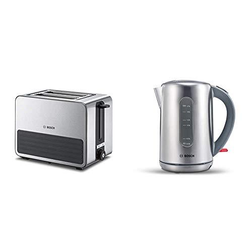 Bosch TAT7S25 Kompakt-Toaster, Auftau/Aufknusperfunktion, automatische Brotzentrierung, Abschaltautomatik, 1050 W, Edelstahl/schwarz & TWK7901 kabelloser Wasserkocher, 1,7 L, 2200 W, Edelstahl