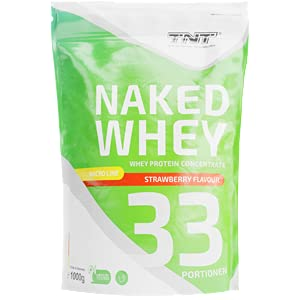 TNT Naked Whey + Laktase • 1kg Whey Protein-Pulver Konzentrat • Eiweißpulver (Erdbeere)