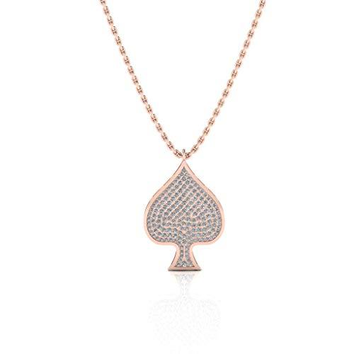Jbr Gambling Spades of Poker - Collar de plata de ley inspirado en cadenas para hombre con tenis de diamante