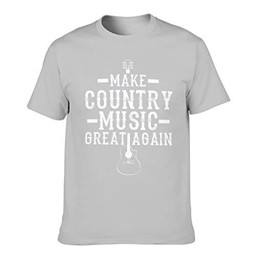 Camiseta atlética para hombre con diseño de guitarra, con texto en inglés 'Make Country Music Great Again' Gris plateado. XXXXXXL