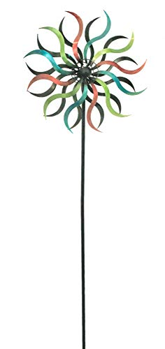 east2eden Multicoloured Spinning Spiral Metal Garden Windmill Wind Ornament Decoration