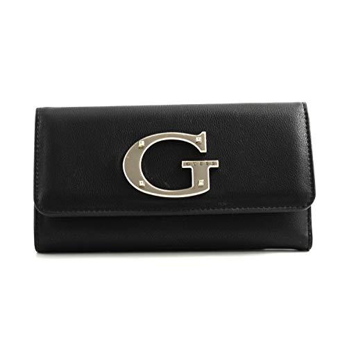 Guess - Cartera de mujer de piel negra con logotipo G de acero. Tarjetero, monedero. VG740065 Black