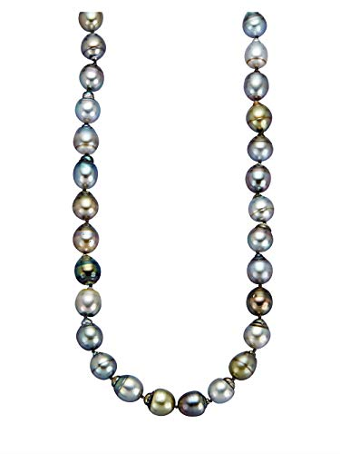Diemer Perle Damen 925 Silber Perlenkette in Grau und Tahiti-Zuchtperle in Multicolor