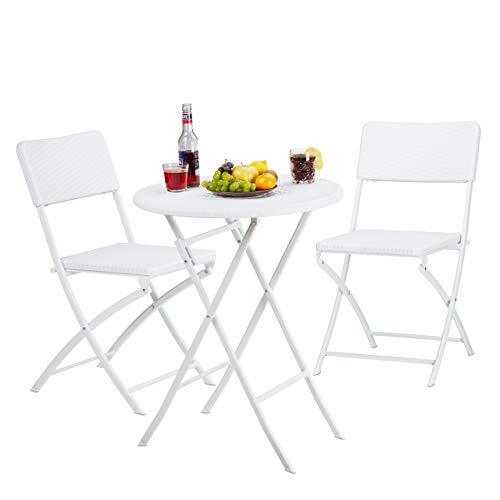 Relaxdays Set Muebles de jardín Bastian, Plegable, 3 Partes, óptica ratán, Mesa 75,5 x 60 x 60 cm, Blanco, 75.5 x 60 cm