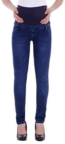 Style-Station Damen Umstandsjeans Schwangerschaftsjeans Slim Schwangerschaft-s-Jeans Umstand-s-Hose Umstand-s-Hosen Röhre-n-Jeans Maternity Stretch-Jeans Größe-n dunkel-blau-e übergröße-n L 40