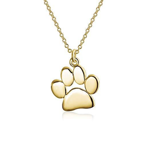 Zierliche Hund Katze Haustier Kätzchen Welpen Pfote Druck Anhänger Halskette Tier Schmuck für Frauen Teen 14K Gelbgold vergoldet 925 Sterling Silber