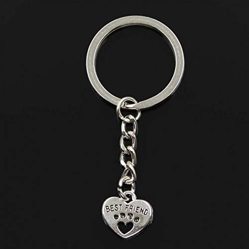 N/ A SGDONG Fashion Heart Best Friend 14 x 15 mm hanger 30 mm ketting kleur zilver heren car geschenken souvenir sleutelhanger