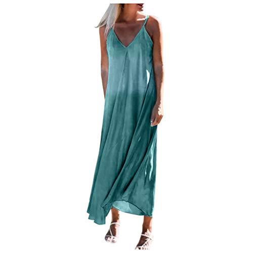KIMODO Maxikleider Damenmode Tie-Dye Gedruckt Sommerkleid Strandkleid Lang Damenkleider mit Ärmel Lässig Locker und Bequem Rock Kleid (Grün-A, XL)