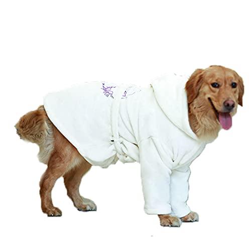 Winter White Big Dog Ropa de baño Albornoz Pijamas Grande Pijamas Vestido de Noche para Perros medianos y Grandes