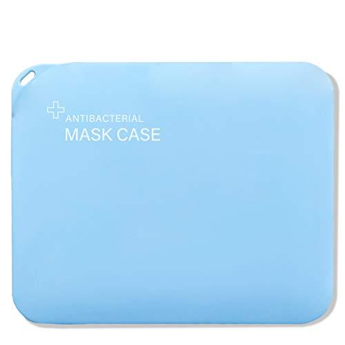 LOCN Caja de Almacenamiento de Mascarillas Antipolvo,Cajas para Mascaras de Plástico Portátil,Funda para Mascarillas de Almacenamiento Reutilizable con Tapas(Azul)
