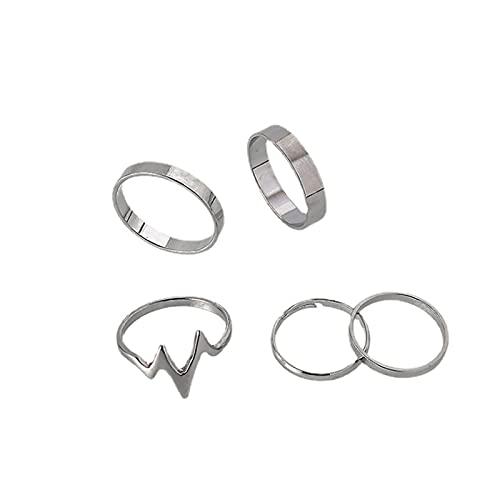 Yienate Boho Vintage Knuckle Rings Set Apilables Anillo de Relámpago Conjunto de Anillos para Mujeres y Adolescentes (5 piezas) (Plata)