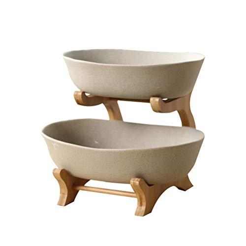 GWYGW Esmerilado de Dos Capas de cerámica Vajilla Tazón, Decorativo vajilla de cerámica, bambú Vajilla, empleados for Frutas, ensaladas y Aperitivos