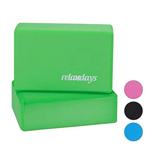 Relaxdays Unisex– Erwachsene Klö Yogablock im 2er Set, Klötze f Übungen, Hartschaum, rutschfest, Yoga-Würfel HBT 8x23x15 cm, Grün