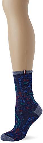 Tommy Hilfiger Damen Th Women 1p Paisley Lurex Socken, Rot (Navy/Red 831), 39/42 (Herstellergröße: 039)