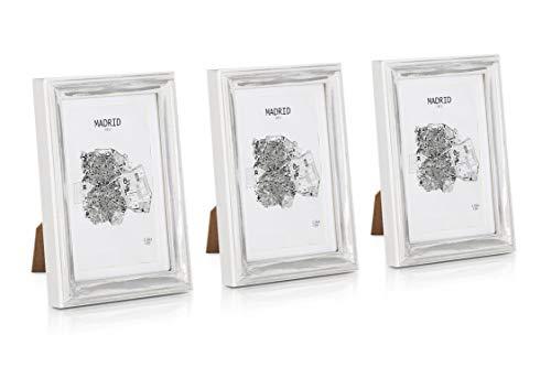 Paquete de 3 Marcos de Fotos Vintage de 13 x 18 cm con Paspartú para Foto de 10 x 15 cm - Shabby Chic Originales - Frente de Vidrio - Plata y Blanco
