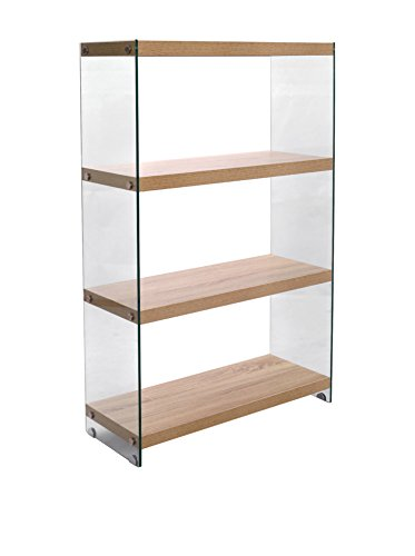 Wink design Libreria TREVISO, 4 Ripiani, Legno, Rovere, 75x29.5x120 cm