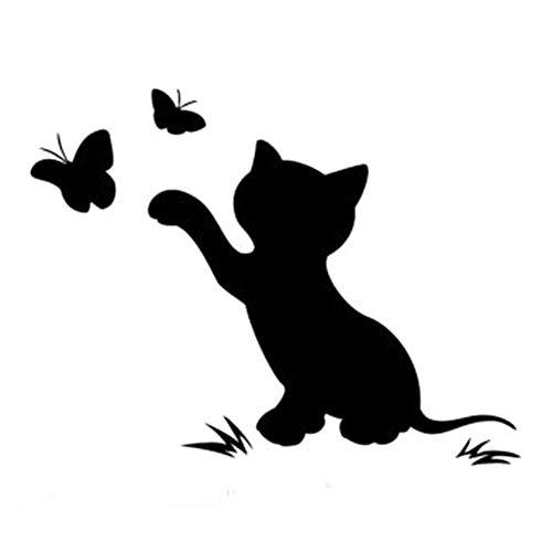 Oce180anYLV Große Förderung! High-End-Auto Aufkleber Nach Hause, Lustiger Katzen-Schmetterlings-LKW-Auto-Aufkleber-Vinylabziehbild-Stoßdämpfer-dekorative Zusätze Black