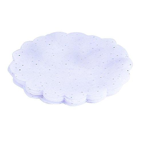 QUMAO (Diametro 24cm) 100 pz Tulle Veli in Organza con Punti Luccicanti Bomboniere Portaconfetti (Bianco)