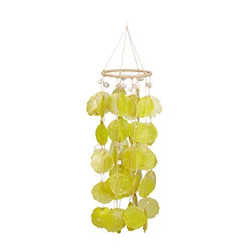 Relaxdays Capiz Windspiel mit Traumfängernetz, Klangspiel mit Muscheln, Gartendeko, 48 cm lange Capiz-Girlanden, gelb