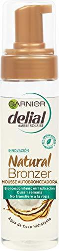 mejores Autobronceadores corporales Garnier Delial Natural Bronzer Mousse Autobronceadora con Agua de Coco Hidratante - 200 ml