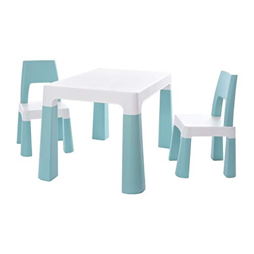 Kids Table and 2 Chair Set, Children Table Furniture with Storage Drawer for Toddlers Reading, Learning, Dining, Playroom, Desk Chair for 1 to 3 Years, Activity Table Desk Sets (Blue)