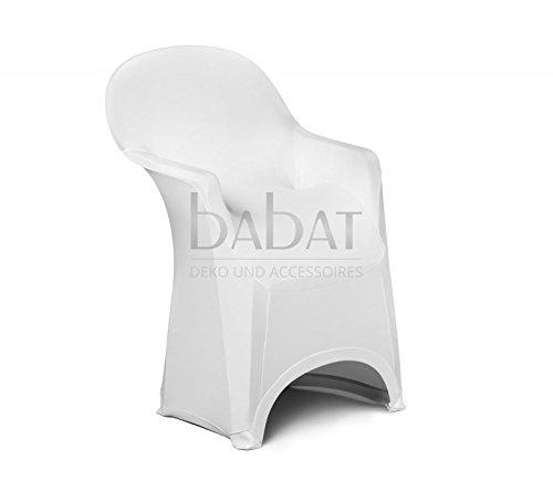 Babat Stuhlhussen Stretch mit Armlehne Standard Qualität Universell Husse Stuhlbezug Stuhlüberzug weiß Hochzeit