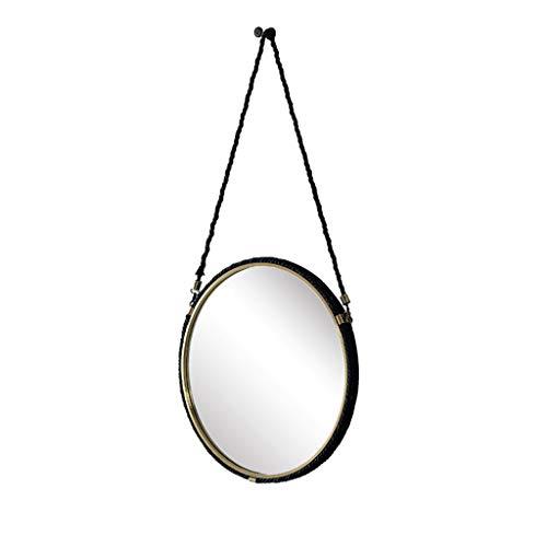 Miroirs Miroir Mural Rond Miroir Mural Mode Avec Miroir De Salle De Bain En Corde Miroir Décoratif Mural De Salon Miroir D'entrée Miroir De Courtoisie (Color : Black, Size : 63 * 63cm)