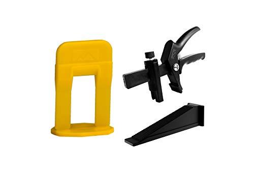 LEVELIZE - Sistema de nivelación de azulejos - SET - Lengüetas (clips) + Cuñas + Alicates Juego completo para nivelación de azulejos profesional (S SET: 500 pestañas, 200 cuñas, alicates, 1 mm)
