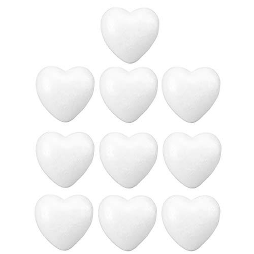 PRETYZOOM DIY Bolas de Poliestireno con Forma de Corazón para Manualidades Adorno de Boda para Craft Espumas Florales Decoracion para Boda 10pcs 6cm