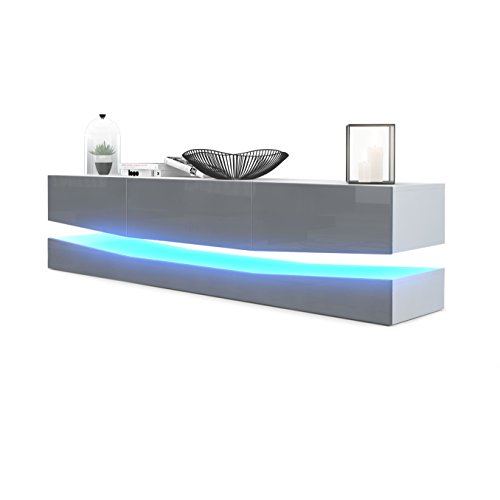 Vladon TV Board Lowboard City, Korpus in Weiß matt/Fronten in Grau Hochglanz inkl. LED Beleuchtung