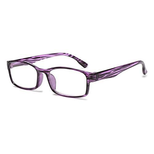 1 Unid Mujer Resina Lectura Gafas Anti-Azul Luz Presbiopic Protección Portátil Ultraligero Gafas Visión Cuidados 2. (Eye Prescription : +300, Frame Color : E Purple)