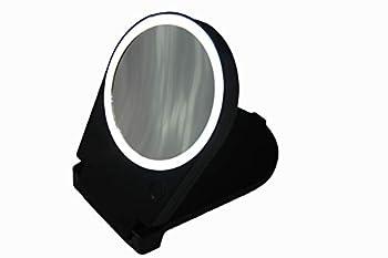 Floxite 15x Lighted Travel & Home Mirror Black
