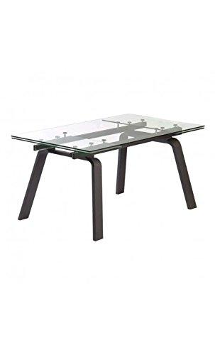CAMINO A CASA - Table à rallonges Bois Noir et Verre Moon 160-240 cm