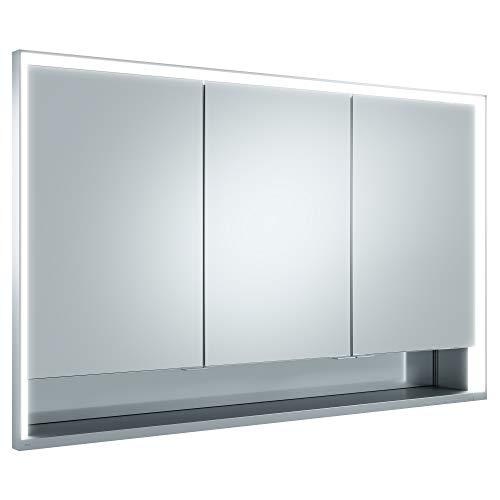 Keuco Spiegel-Schrank Unterputz Einbau, mit Variabler LED-Beleuchtung dimmbar, mit Aluminium-Korpus, mit 3 Türen, 120x73,5x16,5 cm Royal Lumos