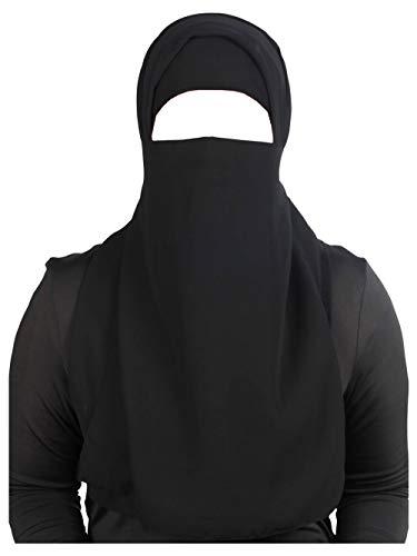 MyBatua medio niqab pieza de nariz larga en georgette transpirable, precio al por mayor, 1 pieza velo de cara NQ-002